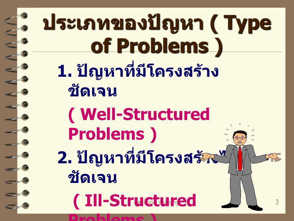 decision making3 ประเภทของปัญหา ( Type of Problems ) 1. ปัญหาที่มีโครงสร้าง ชัดเจน ( Well-Structured Problems ) 2. ปัญหาที่มีโครงสร้างไม่ ชัดเจน ( Ill