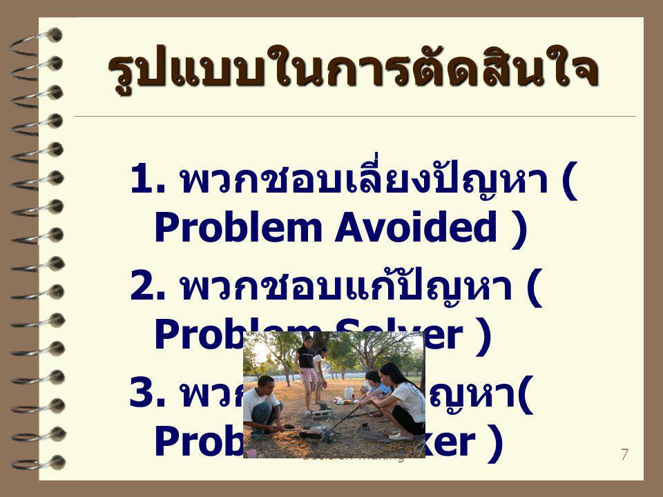 decision making7 รูปแบบในการตัดสินใจ 1. พวกชอบเลี่ยงปัญหา ( Problem Avoided ) 2. พวกชอบแก้ปัญหา ( Problem Solver ) 3. พวกชอบค้นปัญหา ( Problem Seeker