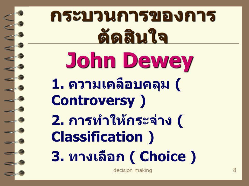 decision making8 กระบวนการของการ ตัดสินใจ John Dewey 1. ความเคลือบคลุม ( Controversy ) 2. การทำให้กระจ่าง ( Classification ) 3. ทางเลือก ( Choice )