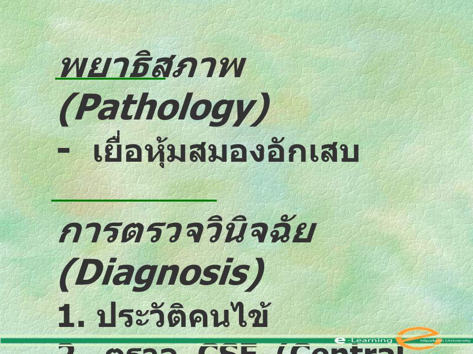 พยาธิสภาพ (Pathology) - เยื่อหุ้มสมองอักเสบ การตรวจวินิจฉัย (Diagnosis) 1. ประวัติคนไข้ 2. ตรวจ CSF (Central spinal fluid )