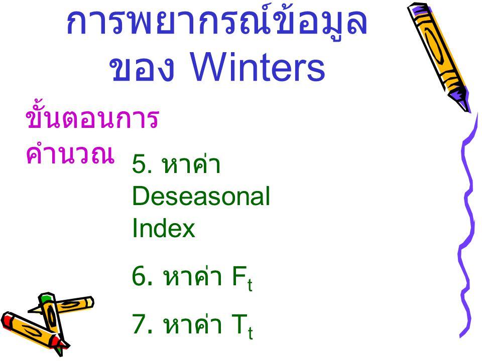 การพยากรณ์ข้อมูล ของ Winters ขั้นตอนการ คำนวณ 5. หาค่า Deseasonal Index 6. หาค่า F t 7. หาค่า T t 8. หาค่า I t แล้ว หา F t+2