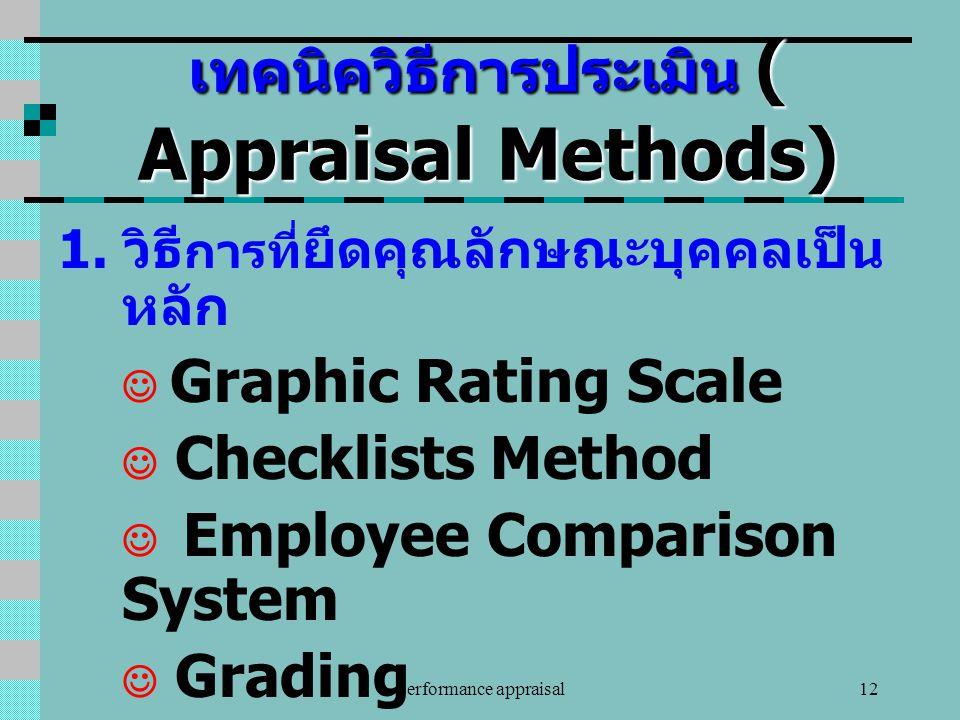 performance appraisal12 เทคนิควิธีการประเมิน ( Appraisal Methods) 1. วิธี การที่ ยึดคุณลักษณะบุคคลเป็น หลัก Graphic Rating Scale Checklists Method Emp