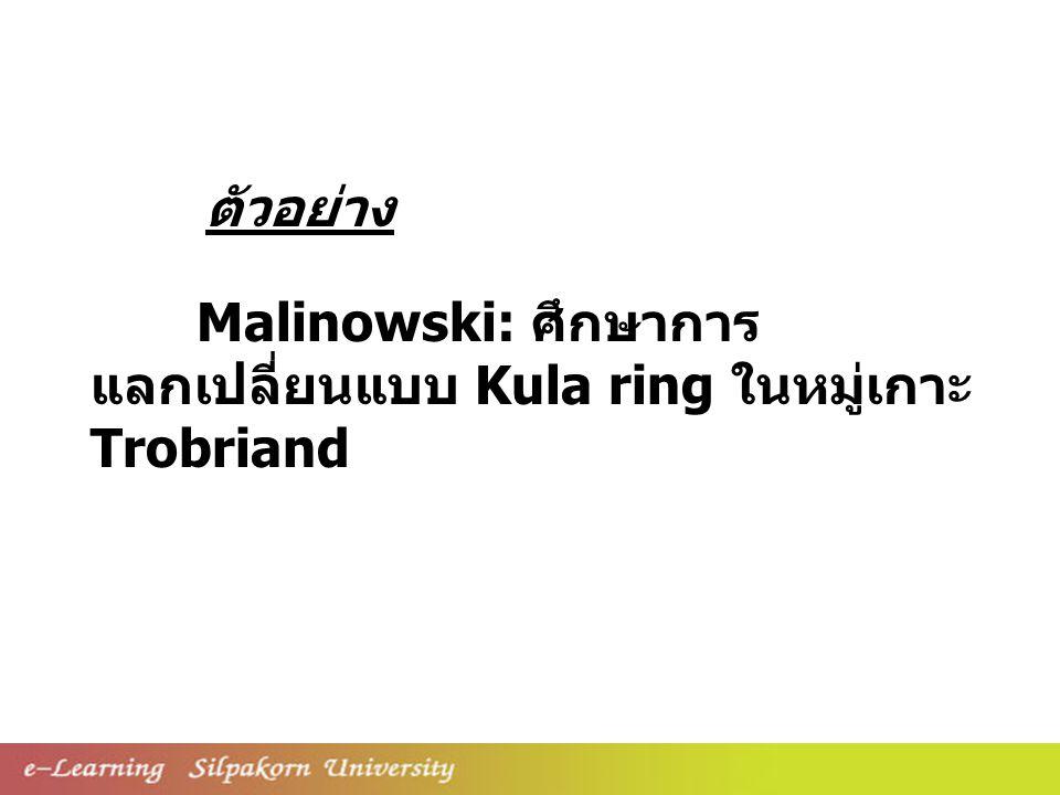 Malinowski: ศึกษาการ แลกเปลี่ยนแบบ Kula ring ในหมู่เกาะ Trobriand ตัวอย่าง