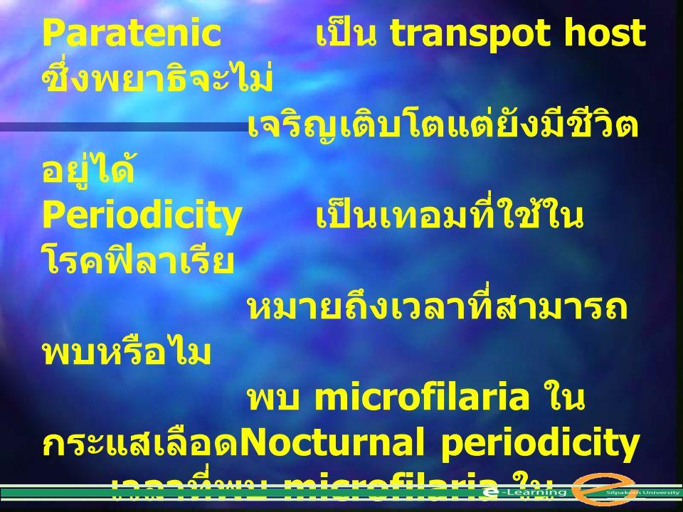 Paratenic เป็น transpot host ซึ่งพยาธิจะไม่ เจริญเติบโตแต่ยังมีชีวิต อยู่ได้ Periodicity เป็นเทอมที่ใช้ใน โรคฟิลาเรีย หมายถึงเวลาที่สามารถ พบหรือไม พบ