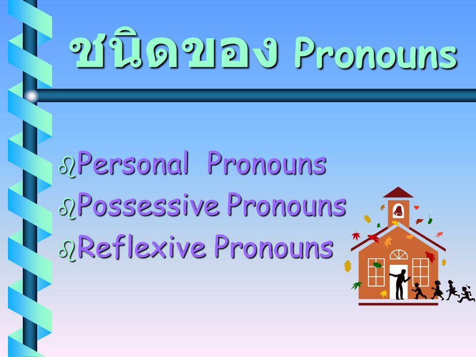 """Pronouns  Pronouns ( คำสรรพนาม ) คือ คำที่ใช้แทนที่คำนาม ( คำว่า pro ในคำว่า pronoun แปลว่า """" แทนที่ """" )  ถ้าต้องการทราบว่าคำใดเป็น Pronoun หรือไม่น"""