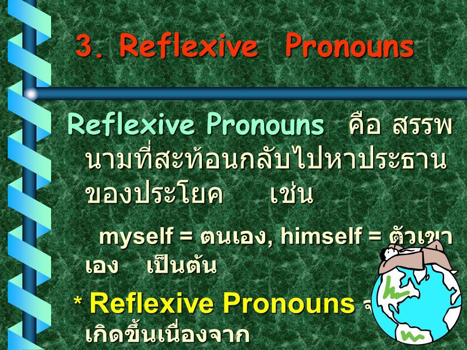 Nominal Possessive Possessive Pronouns * เป็นลักษณะหนึ่งของคำ สรรพนามที่แสดงความ เป็นเจ้าของ * เมื่อใช้คำประเภทนี้แล้ว จะไม่มี คำนามตามหลัง คำนามตามหล