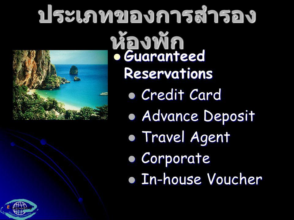 ประเภทของการสำรอง ห้องพัก Non-Guaranteed Reservation Non-Guaranteed Reservation Confirmed Reservation Confirmed Reservation Hotel-Specific Reservations Hotel-Specific Reservations