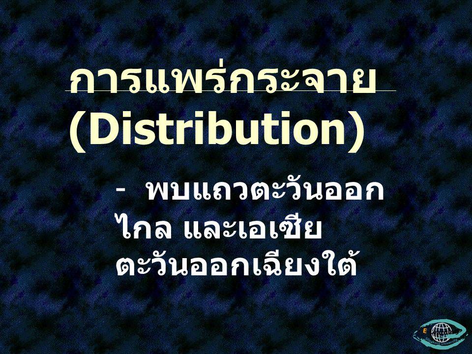 การแพร่กระจาย (Distribution) - พบแถวตะวันออก ไกล และเอเซีย ตะวันออกเฉียงใต้