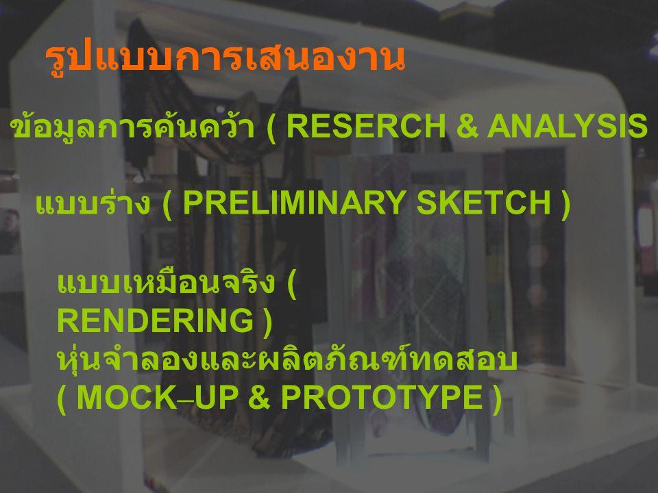 รูปแบบการเสนองาน ข้อมูลการค้นคว้า ( RESERCH & ANALYSIS ) แบบร่าง ( PRELIMINARY SKETCH ) แบบเหมือนจริง ( RENDERING ) หุ่นจำลองและผลิตภัณฑ์ทดสอบ ( MOCK – UP & PROTOTYPE )