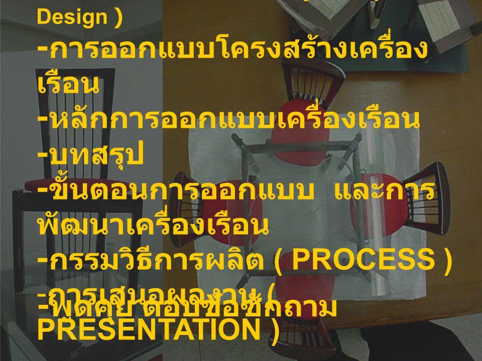 หลักการออกแบบ - ปรับปรุงแบบและผลงานที่มีอยู่ ให้เหมาะสม - แปลกใหม่ - คำนึงถึงประโยชน์ใช้สอย ( Function ) - ความงาม – ความสะดวกสบายในการใช้งาน - วิเคราะห์ - สร้างสรรค์ – ปรับปรุงผลิตภัณฑ์ - รู้จักวางแผน จัดขั้นตอนการออกแบบ การเลือกใช้วัสดุ