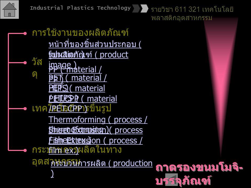 การใช้งานของผลิตภัณฑ์ วัส ดุ เทคโนโลยีการขึ้นรูป กระบวนการผลิตในทาง อุตสาหกรรม หน้าที่ของชิ้นส่วนประกอบ ( function ) PP ( material / PP ) PET.CPP ( ma