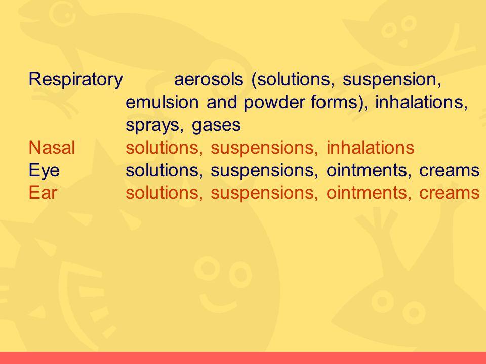 Respiratoryaerosols (solutions, suspension, emulsion and powder forms), inhalations, sprays, gases Nasalsolutions, suspensions, inhalations Eyesolutio