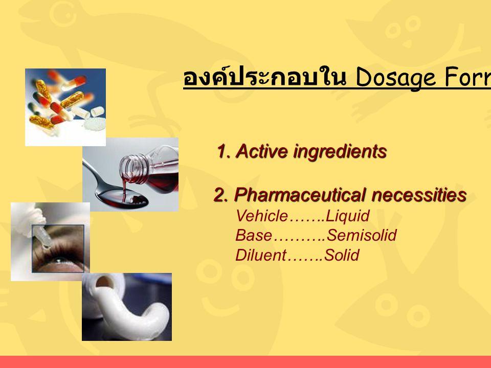 องค์ประกอบใน Dosage Forms 2. Pharmaceutical necessities Vehicle…….Liquid Base……….Semisolid Diluent…….Solid 1. Active ingredients