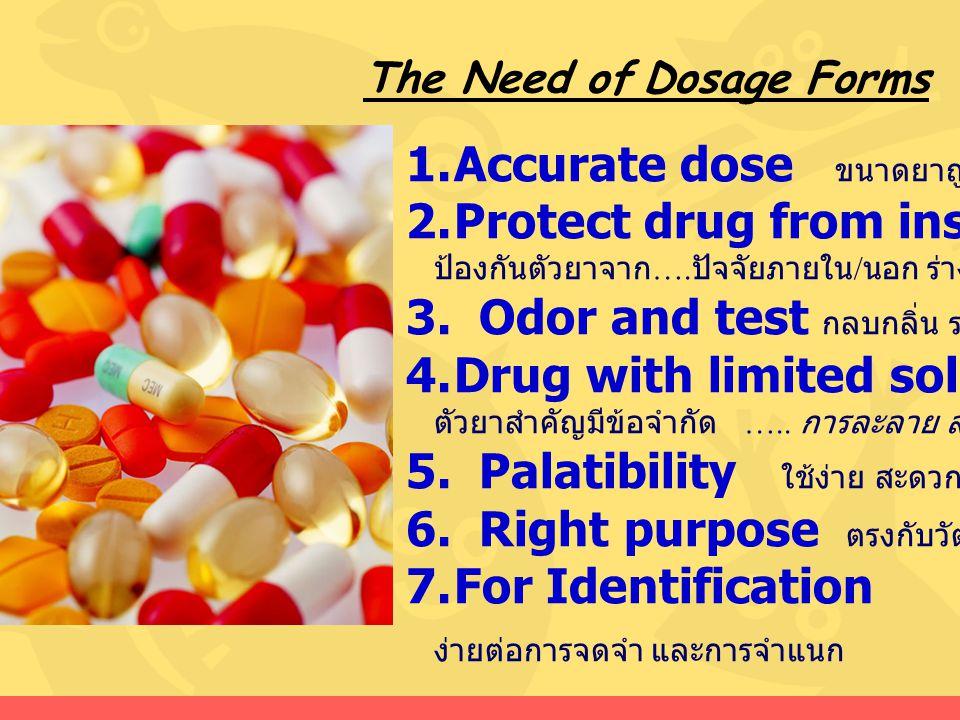 1.Accurate dose ขนาดยาถูกต้อง 2.Protect drug from instability ป้องกันตัวยาจาก …. ปัจจัยภายใน / นอก ร่างกาย 3. Odor and test กลบกลิ่น รส ที่ไม่พึงปรารถ