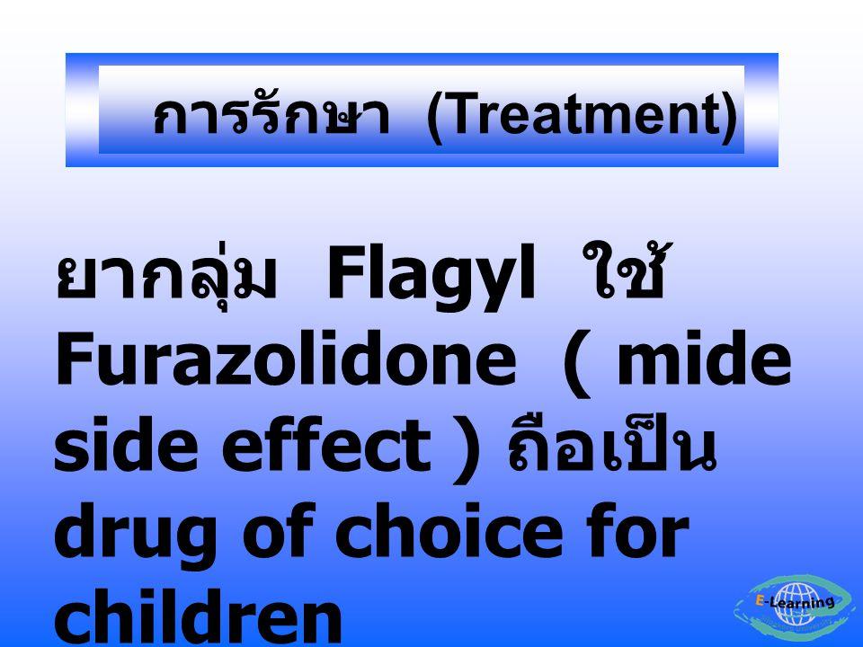 ยากลุ่ม Flagyl ใช้ Furazolidone ( mide side effect ) ถือเป็น drug of choice for children การรักษา (Treatment)