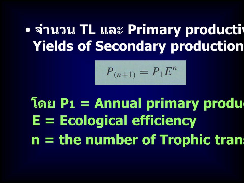 จำนวน TL และ Primary productivity ใช้คาดคะแน Yields of Secondary production ได้ตามสมการ E = Ecological efficiency โดย P 1 = Annual primary production n = the number of Trophic transfers (TL+1)