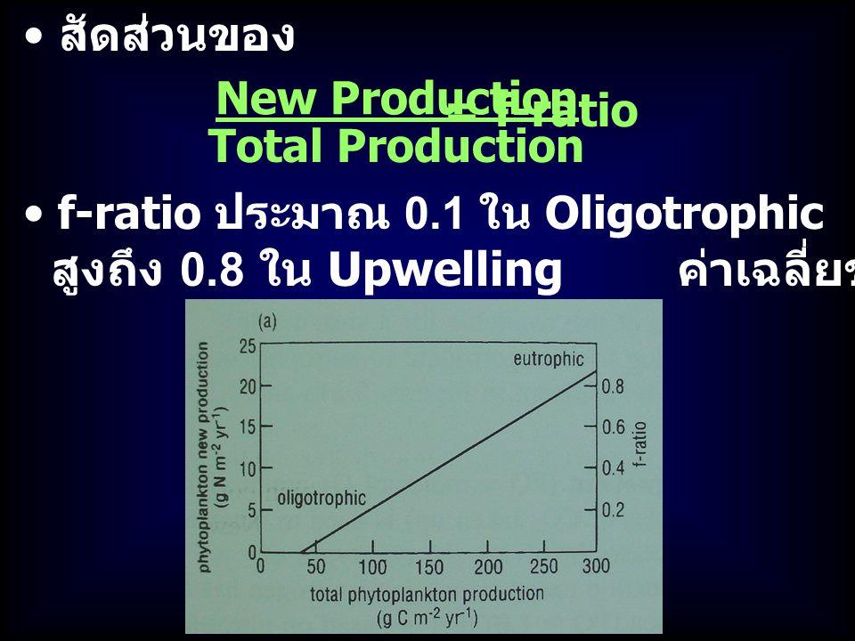 สัดส่วนของ f-ratio ประมาณ 0.1 ใน Oligotrophic สูงถึง 0.8 ใน Upwelling ค่าเฉลี่ยของมหาสมุทรคือ 0.3-0.5 New Production = Total Production f-ratio