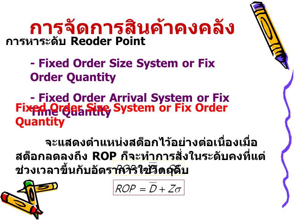 การจัดการสินค้าคงคลัง การหาระดับ Reoder Point - Fixed Order Size System or Fix Order Quantity - Fixed Order Arrival System or Fix Time Quantity Fixed Order Size System or Fix Order Quantity จะแสดงตำแหน่งสต็อกไว้อย่างต่อเนื่องเมื่อ สต็อกลดลงถึง ROP ก็จะทำการสั่งในระดับคงที่แต่ ช่วงเวลาขึ้นกับอัตราการใช้วัตถุดิบ