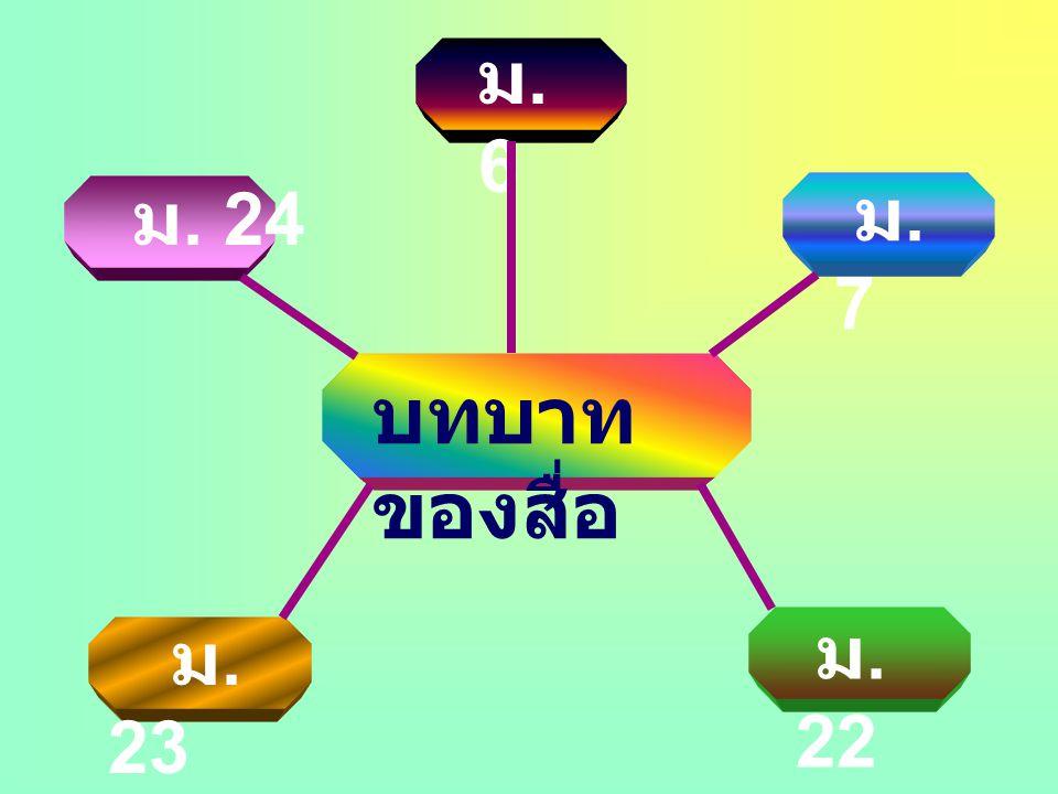 บทบาท ของสื่อ ม.7 ม.7 ม. 22 ม. 23 ม. 24 ม.6ม.6