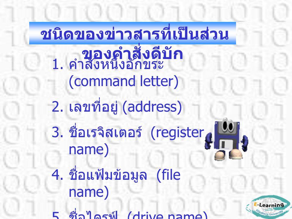 1. คำสั่งหนึ่งอักขระ (command letter) 2. เลขที่อยู่ (address) 3. ชื่อเรจิสเตอร์ (register name) 4. ชื่อแฟ้มข้อมูล (file name) 5. ชื่อไดรฟ์ (drive name