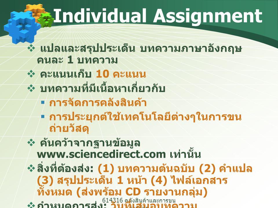 614316 คลังสินค้าและการขน ถ่ายวัสดุ Individual Assignment  แปลและสรุปประเด็น บทความภาษาอังกฤษ คนละ 1 บทความ  คะแนนเก็บ 10 คะแนน  บทความที่มีเนื้อหา