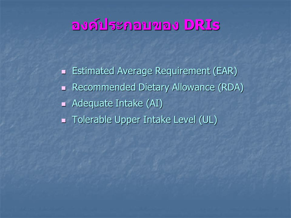 องค์ประกอบของ DRIs Estimated Average Requirement (EAR) Estimated Average Requirement (EAR) Recommended Dietary Allowance (RDA) Recommended Dietary Allowance (RDA) Adequate Intake (AI) Adequate Intake (AI) Tolerable Upper Intake Level (UL) Tolerable Upper Intake Level (UL)