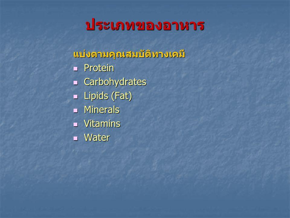 อาหาร (Foods) หมายถึง สิ่งที่รับประทานได้ ไม่ว่ามีประโยชน์หรือไม่ก็ตาม ประกอบด้วย 2 ส่วน NutrientsNon-nutrients