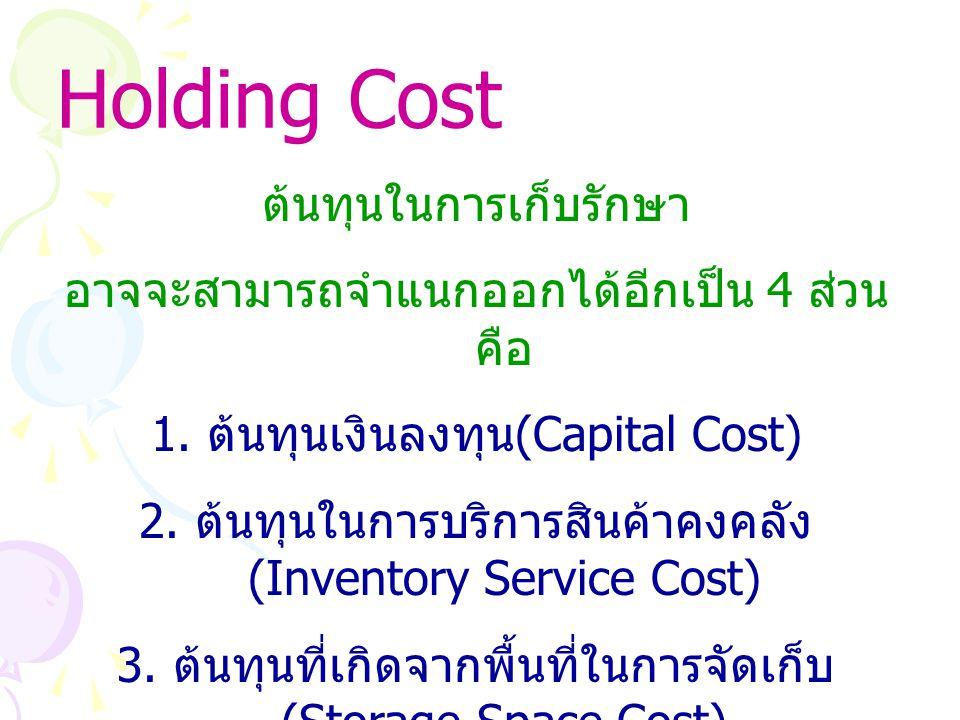 Holding Cost ต้นทุนในการเก็บรักษา อาจจะสามารถจำแนกออกได้อีกเป็น 4 ส่วน คือ 1. ต้นทุนเงินลงทุน (Capital Cost) 2. ต้นทุนในการบริการสินค้าคงคลัง (Invento