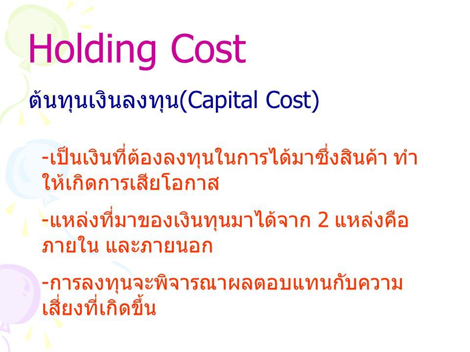 Holding Cost ต้นทุนเงินลงทุน (Capital Cost) - เป็นเงินที่ต้องลงทุนในการได้มาซึ่งสินค้า ทำ ให้เกิดการเสียโอกาส - แหล่งที่มาของเงินทุนมาได้จาก 2 แหล่งคือ ภายใน และภายนอก - การลงทุนจะพิจารณาผลตอบแทนกับความ เสี่ยงที่เกิดขึ้น