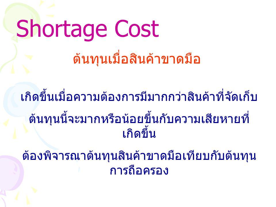 Shortage Cost ต้นทุนเมื่อสินค้าขาดมือ เกิดขึ้นเมื่อความต้องการมีมากกว่าสินค้าที่จัดเก็บ ต้นทุนนี้จะมากหรือน้อยขึ้นกับความเสียหายที่ เกิดขึ้น ต้องพิจารณาต้นทุนสินค้าขาดมือเทียบกับต้นทุน การถือครอง