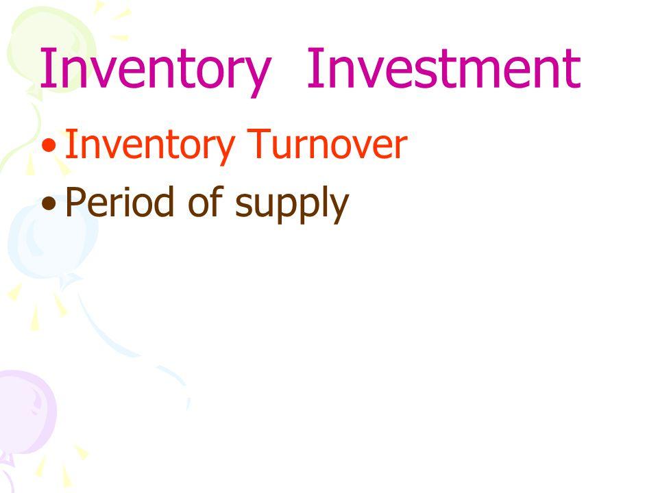 Inventory Turnover Ratio อัตราการหมุนเวียนพัสดุคงคลัง เป็นดัชนีชี้วัดตัวหนึ่งในการวัดความสามารถ การบริหารทรัพย์สินหมุนเวียน เป็นการหาอัตราหมุนเวียนระหว่าง ต้นทุน สินค้าที่ขายได้ และ มูลค่าเงินลงทุนใน คลังสินค้าโดยรวม