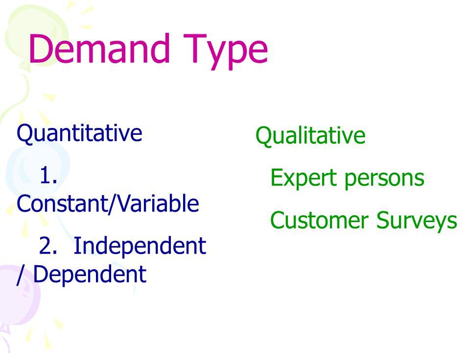 Demand Forecasting Quantit ative Objecti ve Statistic al Qualitat ive Subjecti ve Judgme ntal