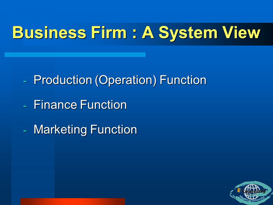 Business Firm : A System View - Production (Operation) Function - Finance Function - Marketing Function