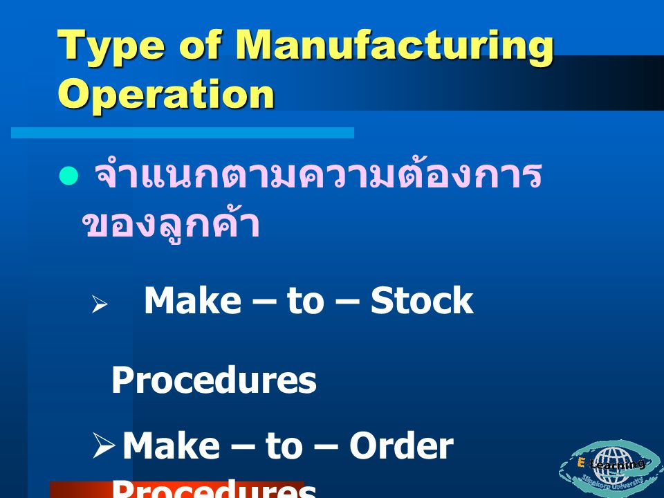 Type of Manufacturing Operation จำแนกตามปริมาณการผลิต ผลิตภัณฑ์  Repetitive Manufacturing,Repetitive Productions,Production Focus : Continuous  Job Shop,Process Focus : Intermittent  Batch Manufacturing