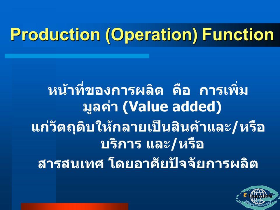 หน้าที่ของการผลิต คือ การเพิ่ม มูลค่า (Value added) แก่วัตถุดิบให้กลายเป็นสินค้าและ / หรือ บริการ และ / หรือ สารสนเทศ โดยอาศัยปัจจัยการผลิต Production