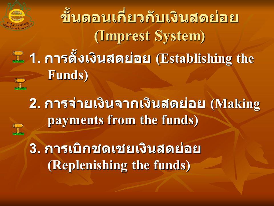 การตั้งเงินสดย่อย โดยปกติจำนวนเงินทดรองจ่ายที่ตั้งไว้ จะใช้ในกิจการระยะเวลาหนึ่งขึ้นอยู่กับ กิจการ อาจเป็น 2 หรือ 3 สัปดาห์ก็ได้ จำนวนเงินสดก็จะขึ้นอยู่กับขนาดของ กิจการ โดยปกติจำนวนเงินทดรองจ่ายที่ตั้งไว้ จะใช้ในกิจการระยะเวลาหนึ่งขึ้นอยู่กับ กิจการ อาจเป็น 2 หรือ 3 สัปดาห์ก็ได้ จำนวนเงินสดก็จะขึ้นอยู่กับขนาดของ กิจการการบันทึกบัญชี บัญชีเงินสดย่อย 1,000 บัญชีเงินสด / เงินฝากธนาคาร 1,000 ตั้งเงินสดย่อย