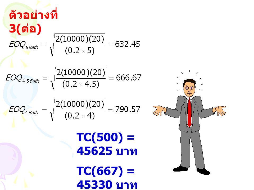 ตัวอย่างที่ 3( ต่อ ) TC(500) = 45625 บาท TC(667) = 45330 บาท TC(1000) = 45480 บาท
