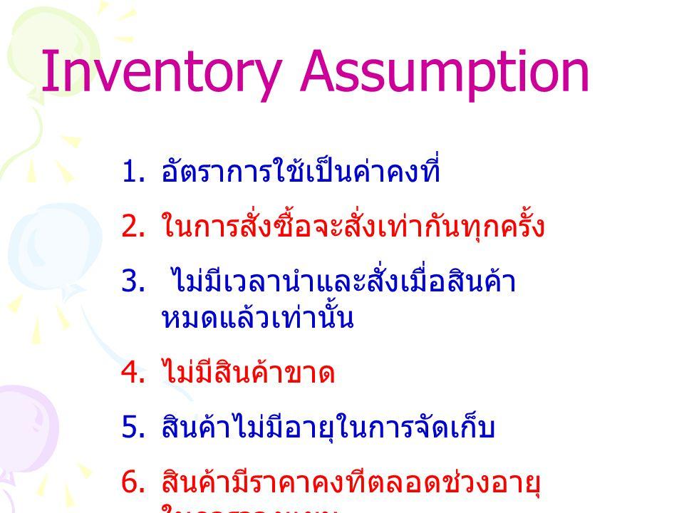 Inventory Assumption 1.อัตราการใช้เป็นค่าคงที่ 2.