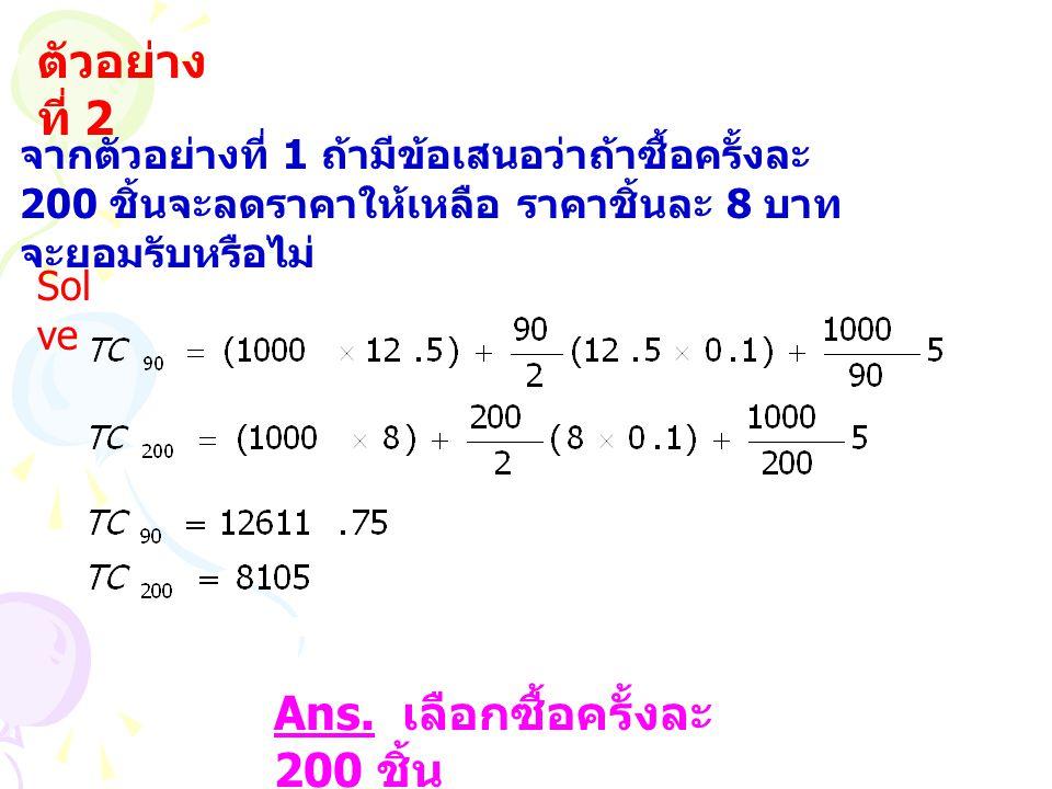 ตัวอย่าง ที่ 2 จากตัวอย่างที่ 1 ถ้ามีข้อเสนอว่าถ้าซื้อครั้งละ 200 ชิ้นจะลดราคาให้เหลือ ราคาชิ้นละ 8 บาท จะยอมรับหรือไม่ Sol ve Ans.