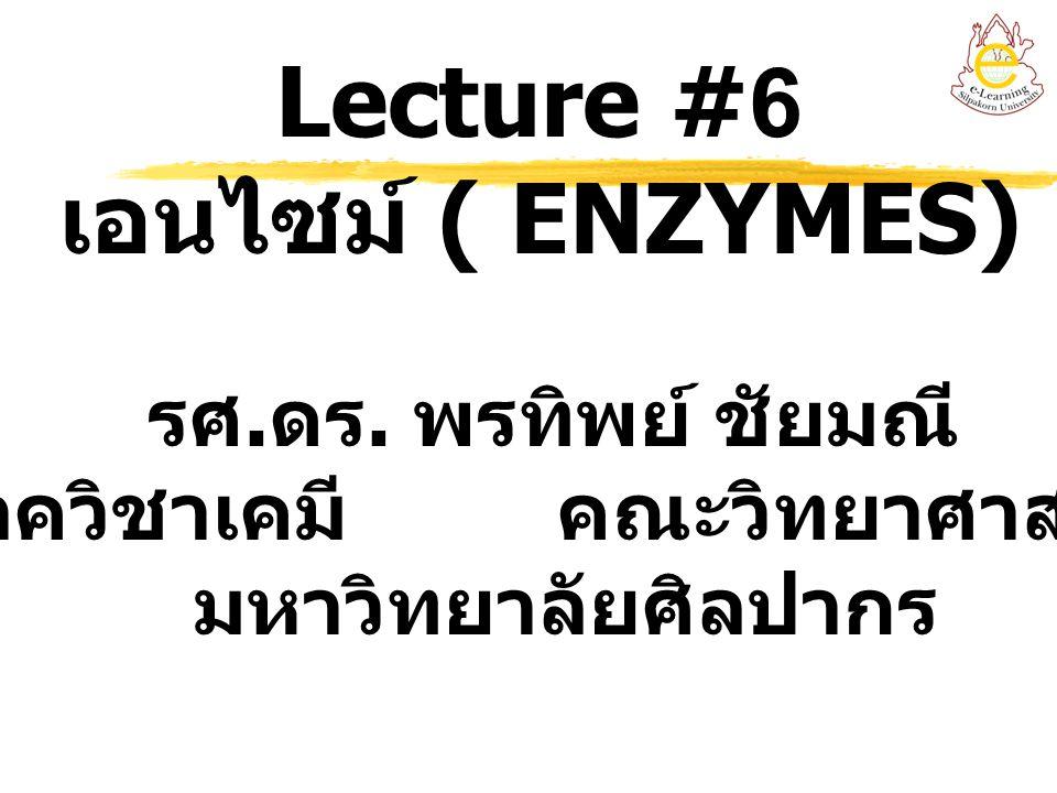 Lecture #6 เอนไซม์ ( ENZYMES) รศ. ดร. พรทิพย์ ชัยมณี ภาควิชาเคมี คณะวิทยาศาสตร์ มหาวิทยาลัยศิลปากร