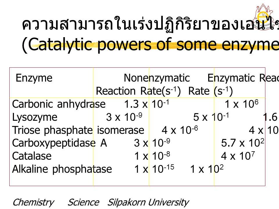 ความสามารถในเร่งปฏิกิริยาของเอนไซม์บางชนิด (Catalytic powers of some enzymes) EnzymeNonenzymaticEnzymatic Reaction Rate Reaction Rate(s -1 ) Rate (s -