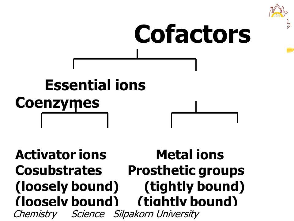 Elemental cofactors ElementEnzyme Fe 2+ / Fe 3+ Cytochromes, peroxidases,catalases Cu + / Cu 2+ Cytochrome oxidase, tyrosidase Mg 2+ Most of the phosphotransferases Zn 2+ Alcohol dehydrogenase, carbonic anhydrase SeGlutathione peroxidase Cl -  -amylase Ni 2+ Urease Ca 2+ Phosphorylase kinase Chemistry Science Silpakorn UniversityDr.