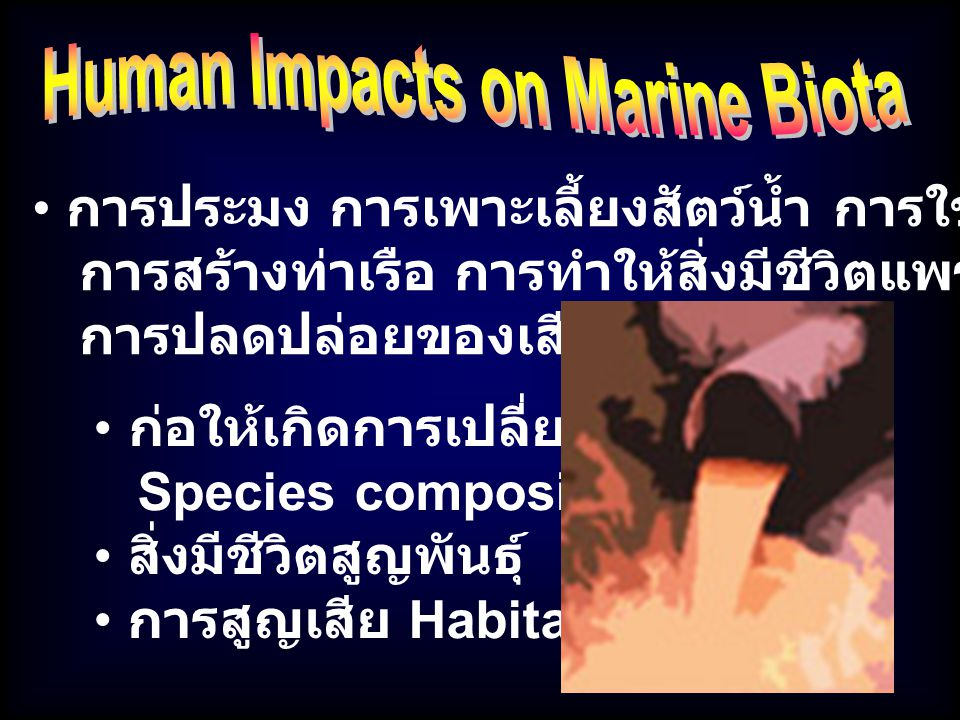 : Mercury Copper Cadmium Heavy Metals มักพบมีความเข้มข้นสูงในพื้นที่ทำเหมืองแร่ใกล้ / ในทะเล มักพบสะสมในสัตว์ทะเลหน้าดิน ปกติโลหะหนักมักก่อให้เกิด Acute toxic effect แต่สามารถ สะสมก่อให้เกิด Chronic effect เช่น การเติบโตผิดปกติ และมะเร็งได้ : Minamata ในญี่ปุ่น เกิดจาก Mercury