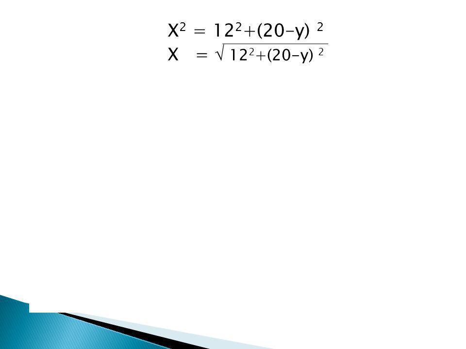 X =  12 2 +(20-y) 2 และสมการของราคาค่าเดินสายไฟ ราคา = C = 50,000 X + 30,000 Y C = 50,000  12 2 +(20-y) 2 + 30,000 Y จากนั้นหากต้องการเสียค่าใช้จ่าย