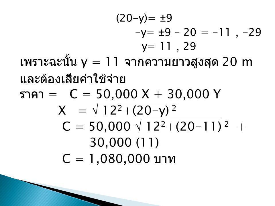 (20-y)= ±9 -y= ±9 – 20 = -11, -29 y= 11, 29 เพราะฉะนั้น y = 11 จากความยาวสูงสุด 20 m และต้องเสียค่าใช้จ่าย ราคา = C = 50,000 X + 30,000 Y X =  12 2 +