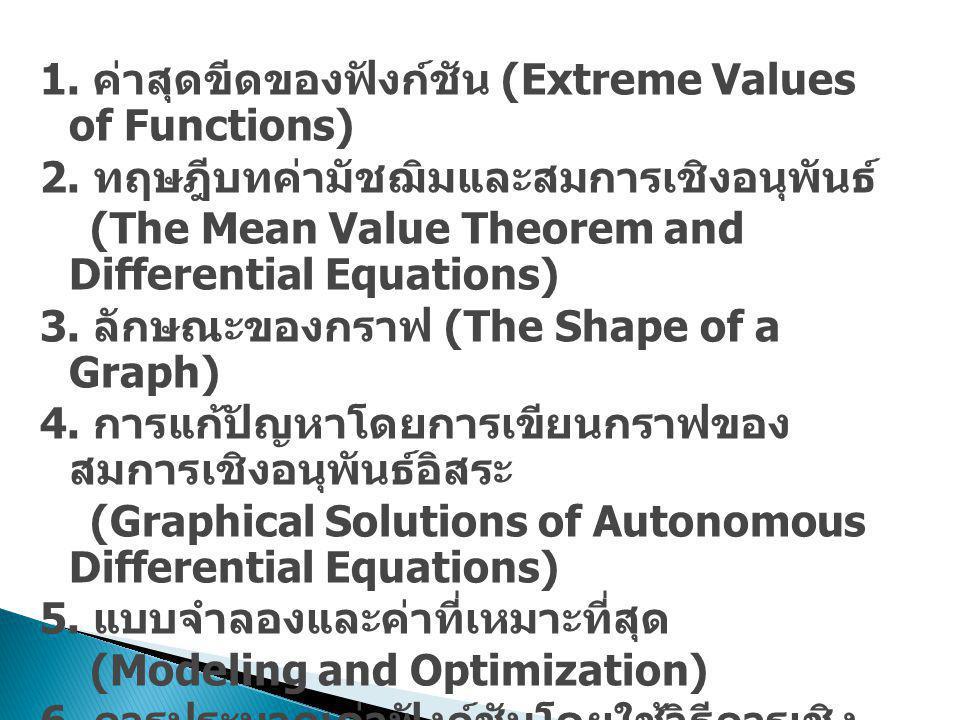 1. ค่าสุดขีดของฟังก์ชัน (Extreme Values of Functions) 2. ทฤษฎีบทค่ามัชฌิมและสมการเชิงอนุพันธ์ (The Mean Value Theorem and Differential Equations) 3. ล