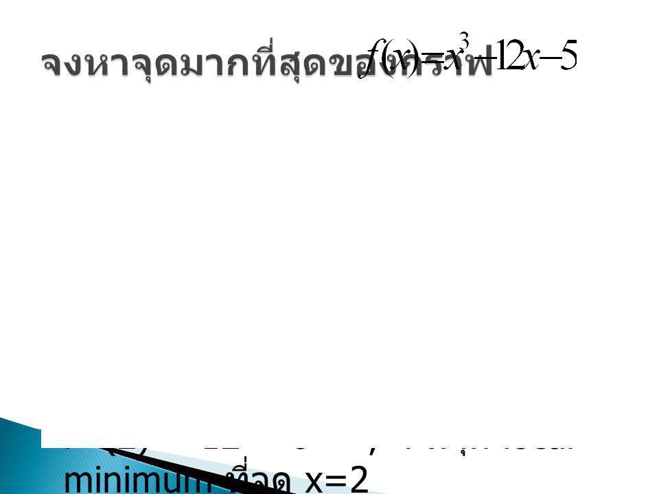 ทดสอบจุดวิกฤตที่จุด x =±2 f'' (-2) = -12 < 0 ; f มีจุด local maximum ที่จุด x=-2 f'' (2) = 12 > 0 ; f มีจุด local minimum ที่จุด x=2