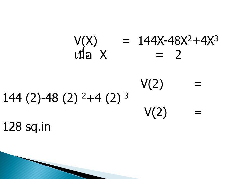 V(X) = 144X-48X 2 +4X 3 เมื่อ X = 2 V(2) = 144 (2)-48 (2) 2 +4 (2) 3 V(2) = 128 sq.in