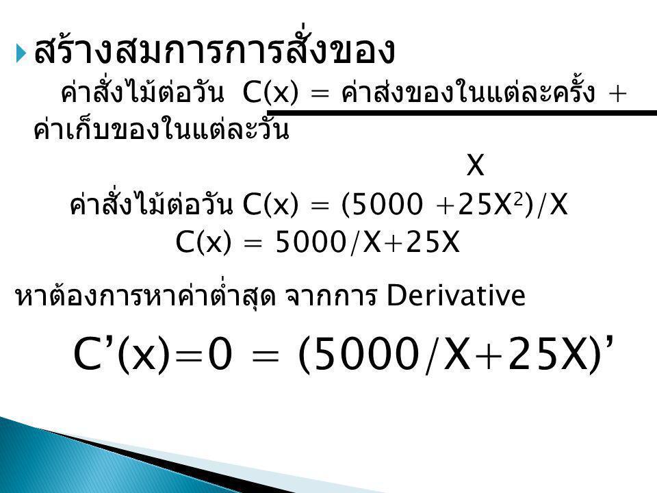  สร้างสมการการสั่งของ ค่าสั่งไม้ต่อวัน C(x) = ค่าส่งของในแต่ละครั้ง + ค่าเก็บของในแต่ละวัน X ค่าสั่งไม้ต่อวัน C(x) = (5000 +25X 2 )/X C(x) = 5000/X+2