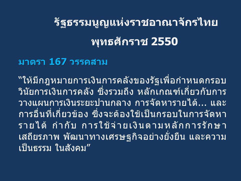 """รัฐธรรมนูญแห่งราชอาณาจักรไทย พุทธศักราช 2550 มาตรา 167 วรรคสาม """"ให้มีกฎหมายการเงินการคลังของรัฐเพื่อกำหนดกรอบ วินัยการเงินการคลัง ซึ่งรวมถึง หลักเกณฑ์"""